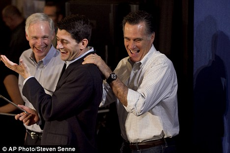 Winning: Mr Romney currently has 568 delegates while expecting a win in Wisconsin's primary Tuesday with the help of Rep. Paul Ryan, R-Wis (center) and the Wisconsin senator (left)