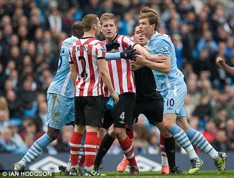 Melee: Sunderland and Manchester City players clash at the weekend