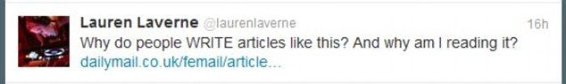 BBC DJ Lauren Laverne posted a series of tweets about Samantha's article