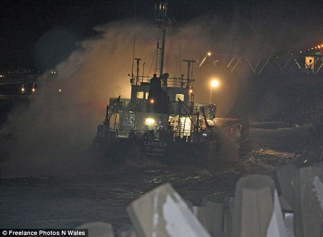 The ship is believed to have lost power as it left the jetty, prompting the crash and rescue operation
