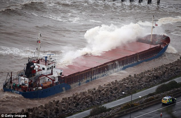 The fierce weather has made it difficult to begin rescuing the ship, which contains 40,000 litres of fuel