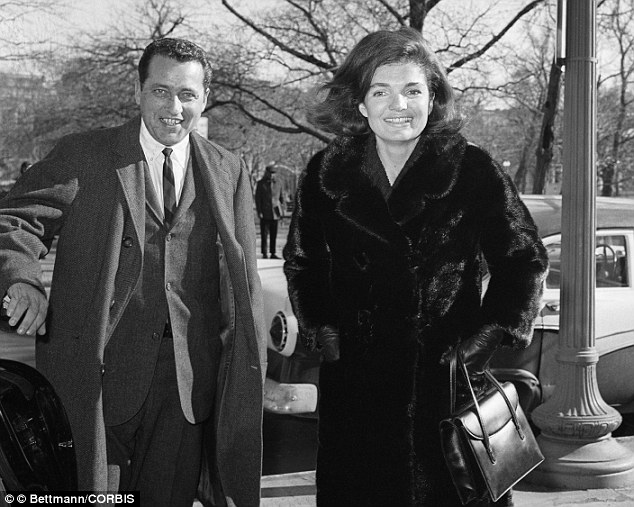 Good friends: Hill and Mrs Kennedy are pictured in Washington, D.C. three months after her husband's death. Hill continued to work for the former First Lady for another year after the assassination