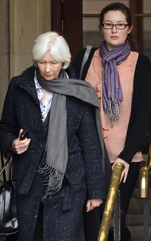 Laura Johnson leaves Inner London Crown Court with her mother Lindsay following her conviction