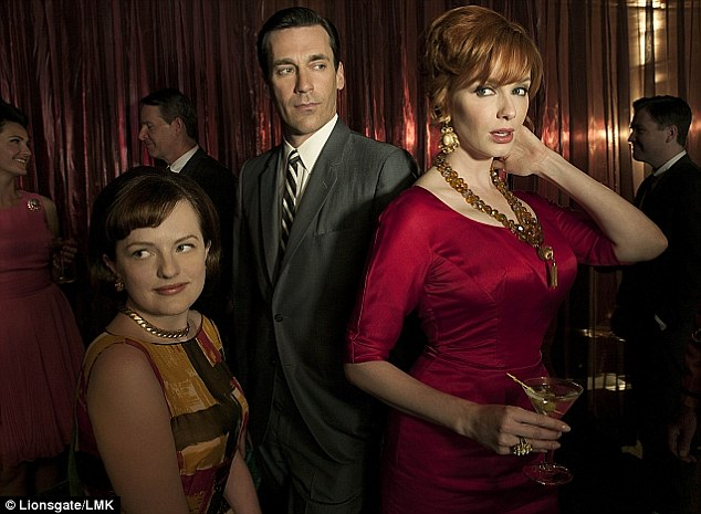 Losing ratings: When aired on the BBC, the show, which also stars Elisabeth Moss as Peggy Olsen (left) and Christina Hendricks as Joan Holloway (right), was watched by 1.5million once the BBC2 repeat was included