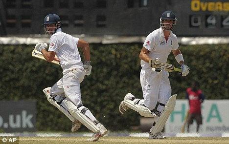 Pace-setter: Pietersen (right) steered England to victory with a speedy 42 not out