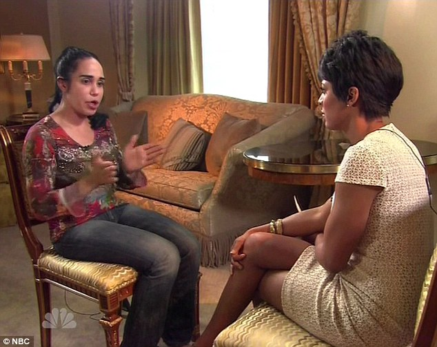 Tough questions: Nadya was grilled on Friday night by NBC news presenter Tamron Hall