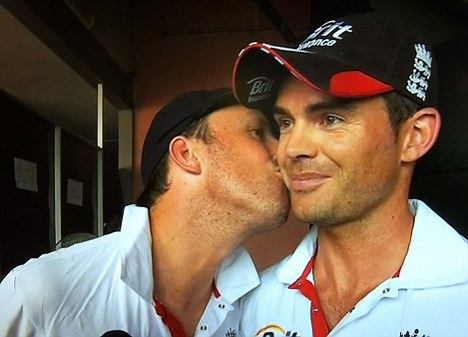 Pucker up: Graeme Swann kisses Jimmy Anderson after England wrap up their victory