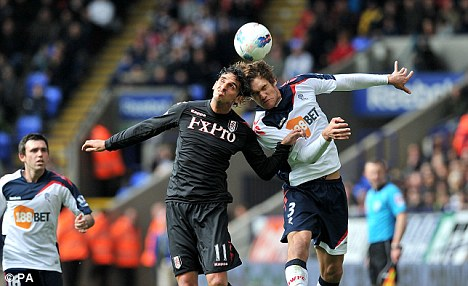 Before the injury: Ruiz in action for Fulham during the win over Bolton