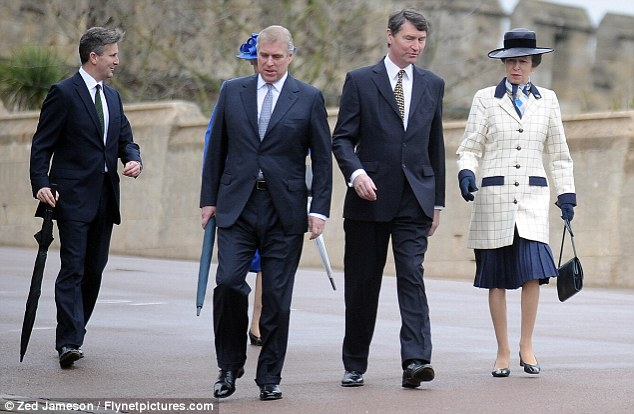 Off to church: Prince Andrew was at the service, as well as Princess Anne and husband Tim Laurence, all pictured