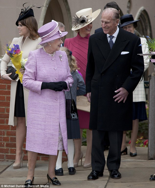 The Queen laughs with Prince Philip and is accompanied by Lady Louise, Princess Eugenie and Sophie Wessex
