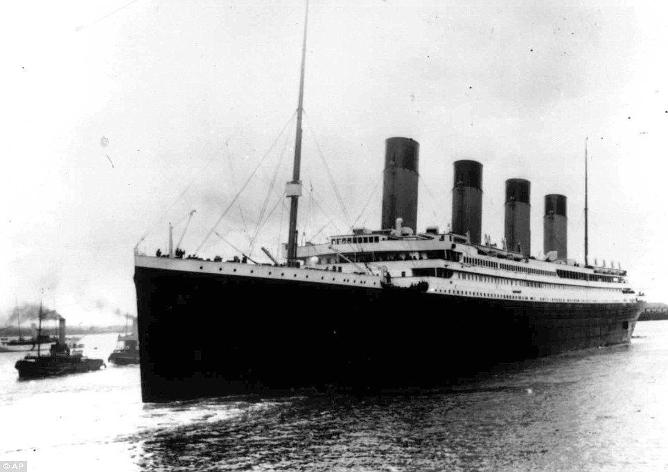 Doomed: A picture of the Titanic which sunk after it hit an iceberg in the north Atlantic in 1912