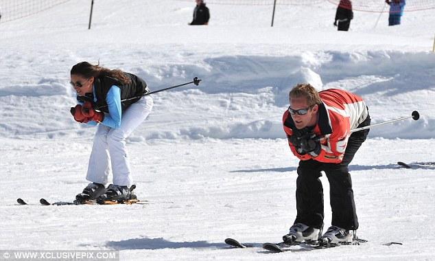 Pippa and George Percy race down the slopes