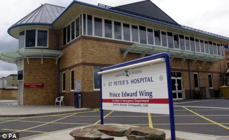 Shocking: The couple were treated for scratches and bruises at St Peter's Hospital, Chertsey, before being taken to a police station and cautioned