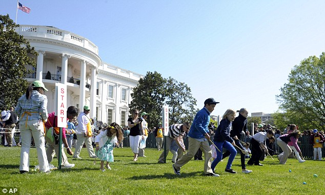 Annual event: Children participate in the annual White House Easter Egg Roll on the South Lawn of the White House