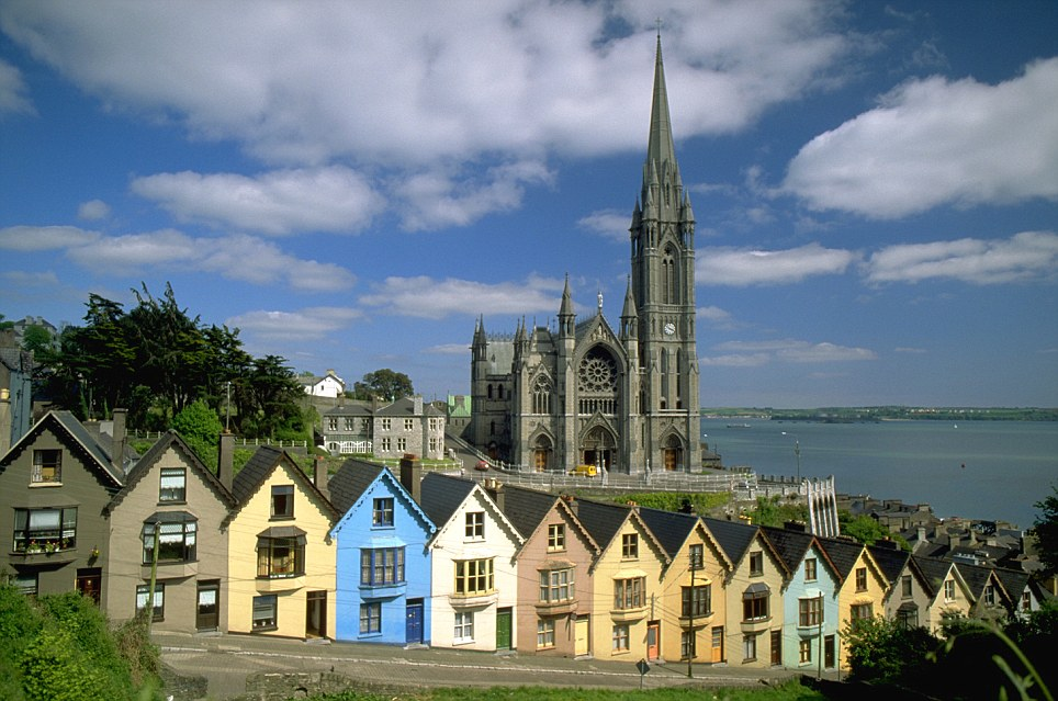 Delays: The memorial cruise was delayed for two hours before docking here in Cobh, on the south coast of Ireland