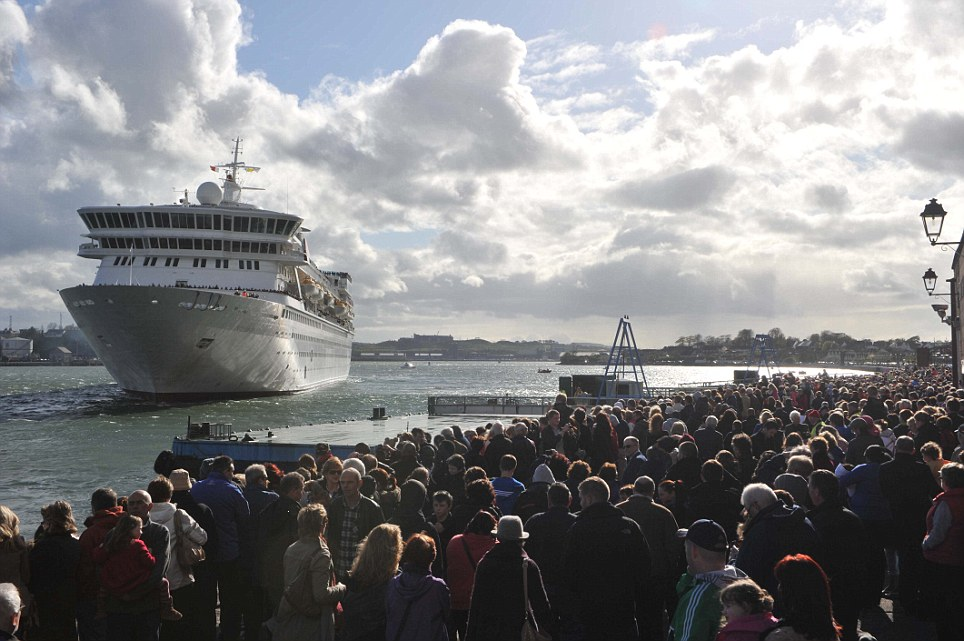 Last port of call: After heavy winds The Balmoral arrives in Cobh yesterday as it retraces the steps of the RMS Titanic's journey