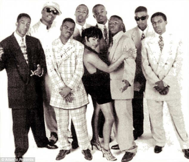 Tough guy: Terrence Harding (second left) was a member of the Notorious B.I.G¿s rap group, Junior M.A.F.I.A.