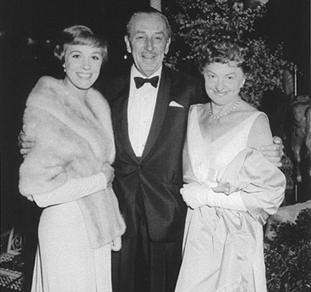 Hit: PL Travers, right, with Walt Disney, centre, and Julie Andrews, left, but despite the huge success of the film the author disliked it greatly and refused to work with Disney again