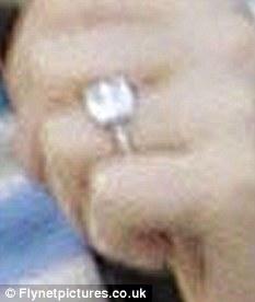 Bling: Barrymore was wearing her 4-carat Graff diamond engagement ring