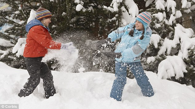 Simple pleasures: The charity's checklist includes throwing snow and eating an apple straight from a tree