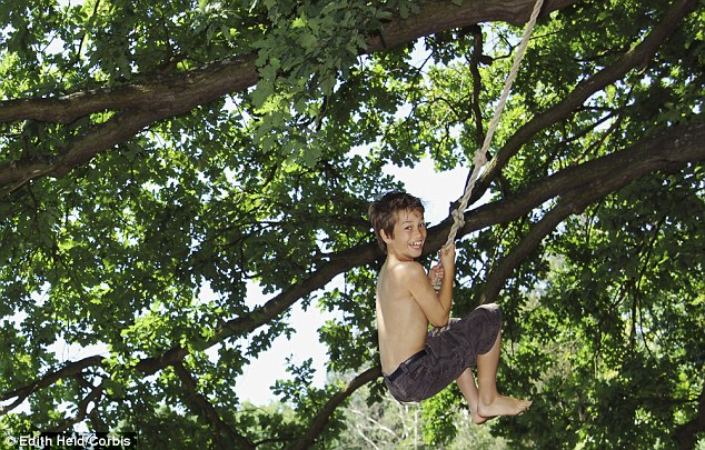 Reviving the rope swing: According to a research, fewer than 10 per cent of children regularly play in 'wild places' and 10 per cent cannot ride a bicycle.