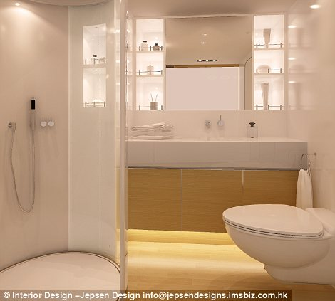 The bathroom is complete with power shower and a flushing toilet, left,  while the galley has fresh running water, a stove and all one could want in a kitchen, left