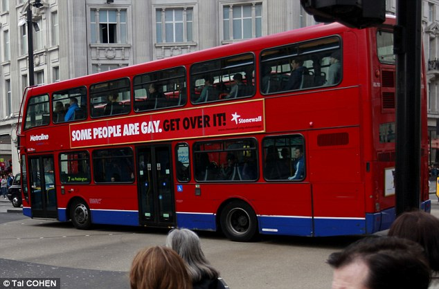 Message: Stonewall's ad seen on a bus driving past Oxford Circus in central London