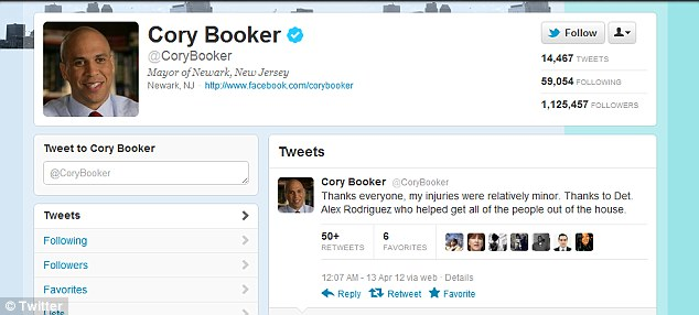 Gracious: Hours after the daring rescue, Mayor Bookre was tweeting his thanks