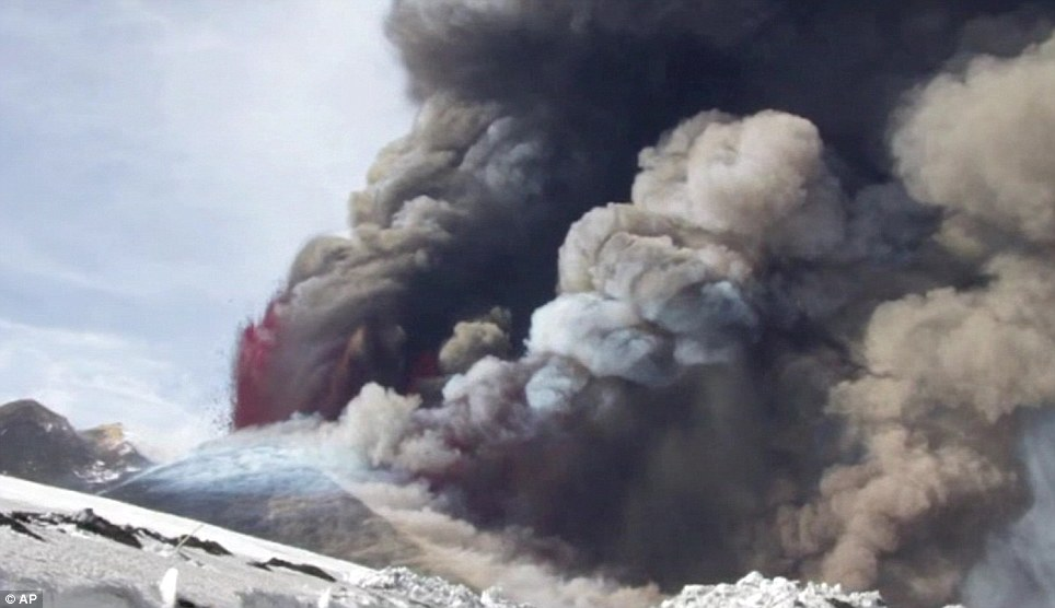 Explosion: The volcano has erupted 24 times since January 2011 but no one has been killed because the lava moves so slowly