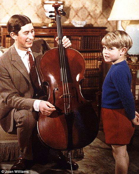 Cello, hello: Prince Charles gives a music lesson to his youngest brother Prince Edward
