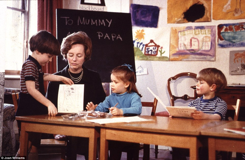 In class: Prince Edward at the nursery school in Buckingham Palace alongside his cousin Sarah Armstrong-Jones