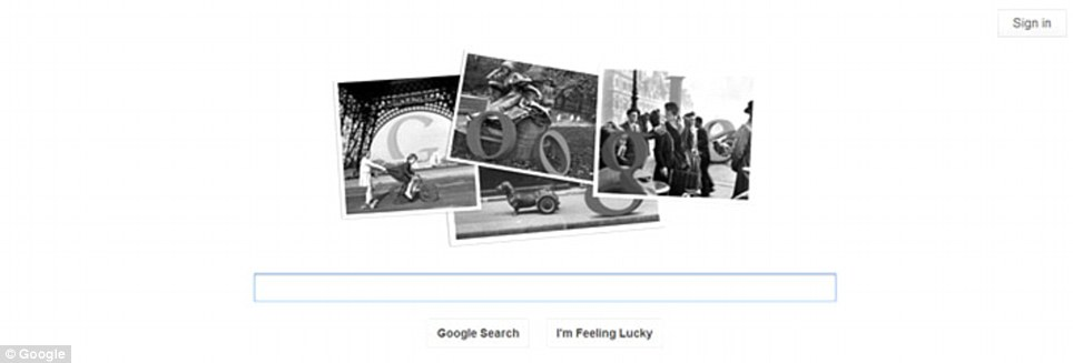The Google Doodle celebrates 100 years since Doisneau was born in Paris on April 14, 1912.