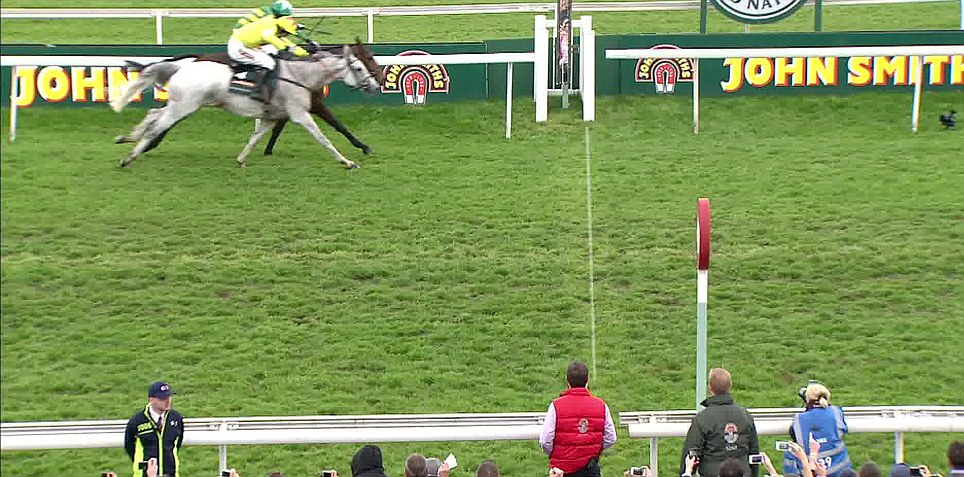 Neptune Collonges thunder towards the finishing line nose-to-nose with one stride to go. Neptune Colloonges, the grey, managed to inch forward enough to claim victory