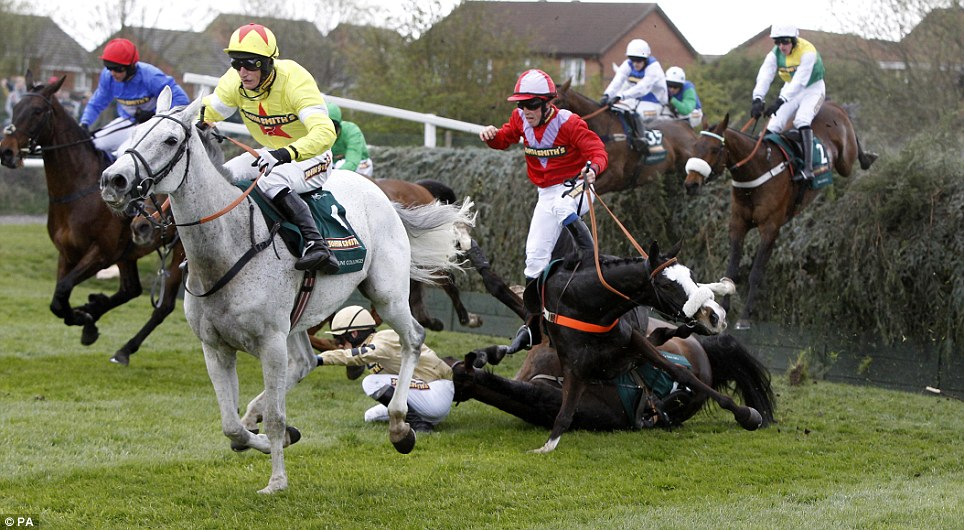 Neptune Collonges runs clears as According to Pete and jockey Henry Haynes and On His Own and Paul Townshend fall at Bechers