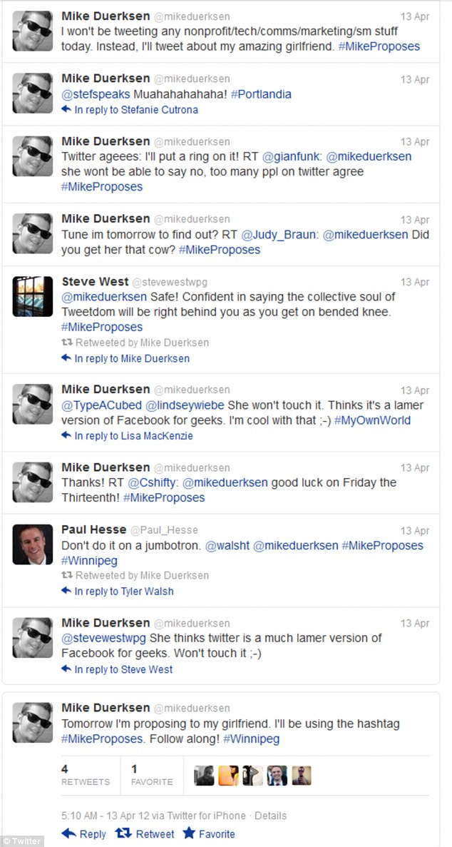 Mr Duerksen's 12-hour long Twitter feed which attracted hundreds of new followers to his page