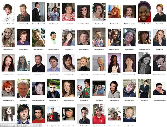 Victims: Just some of the 77 killed by Breivik in a day of carnage last year