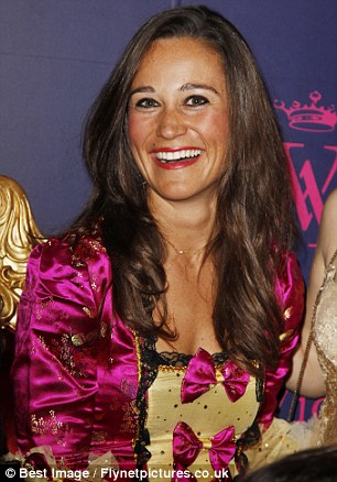 Party girl: Pippa, dubbed 'Her Royal Hotness', appeared relaxed and in a celebratory mood during the decadent 18th century-style party