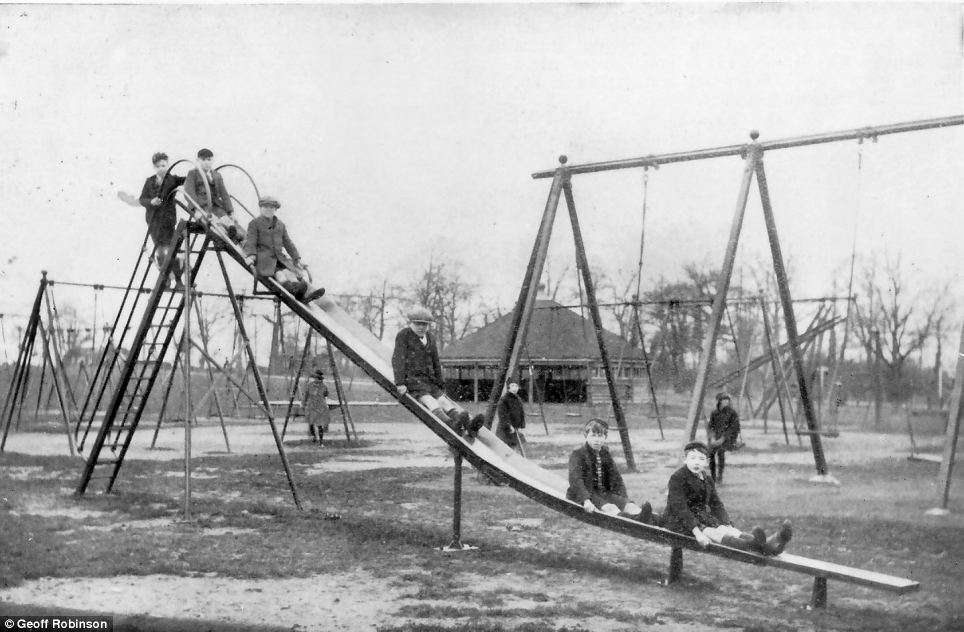 Work in progress: By 1929 Wicksteed¿s slide had become his most popular piece of play equipment. Five years later his slides were completely made from metal with the added safety measure of handlebars, sides and a cabin at the top