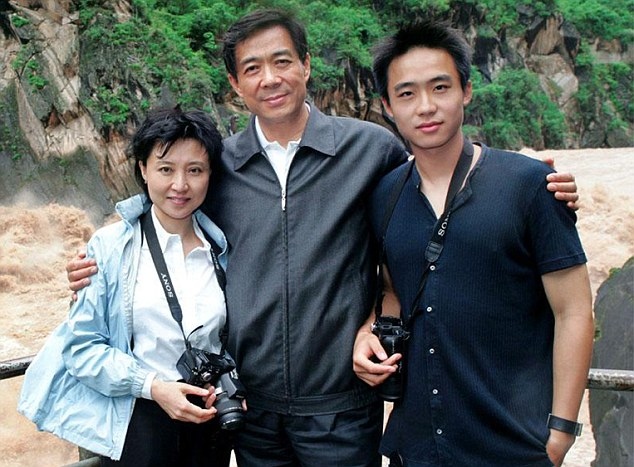 Torn apart: Gu Kailai with her husband and former Chongqinq leader bo Xilai with their son Bo Guagua