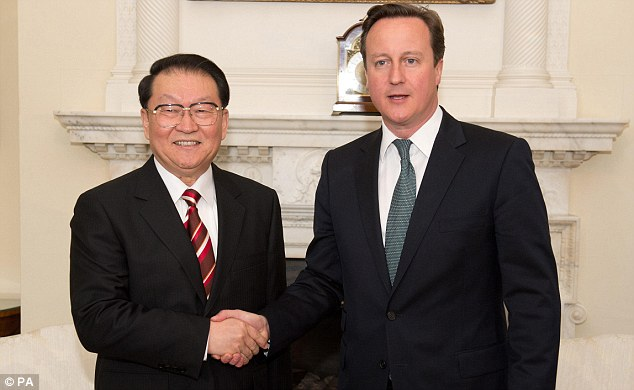 Strengthening ties: Mr Cameron was meeting Politburo member Li Changchun at No 10 to discuss efforts to deepen the UK¿s trade and cultural relationship with China