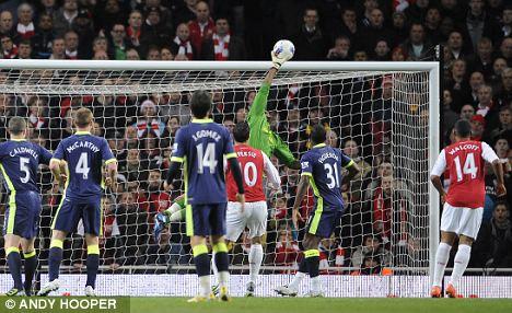 Safe hands: Wigan keeper Ali Al Habsi denies Arsenal