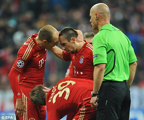 Flashpoint: Arjen Robben and Franck Ribery argue over a free kick
