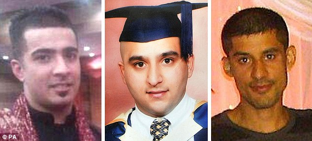Haroon Jahan (left), Shazad Ali (centre) and Abdul Musavir (right) were all killed when they were knocked down by a car while protecting their community from looters