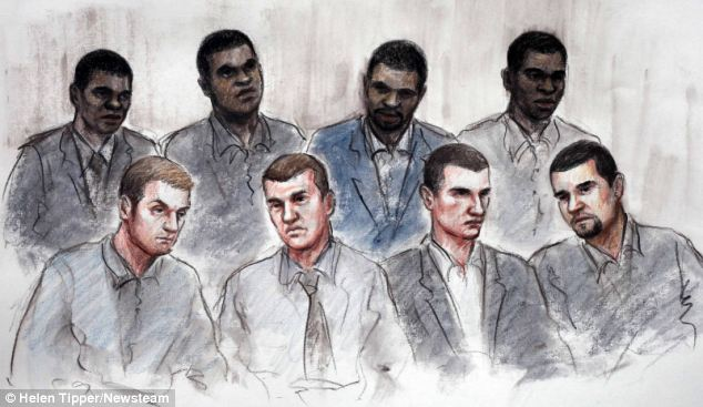 Court sketch of defendants in the trial into the deaths of Haroon Jahan, and brothers Shazad Ali and Abdul Musavir
