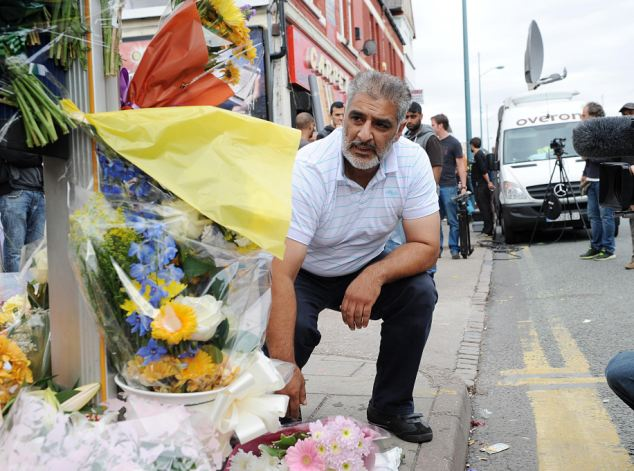 Tariq Jahan pictured the morning after his son Haroon Jahan was killed after being struck by a car