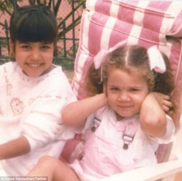 Sister act: Khloe Kardashian (R) posted this photo to her Twitter to celebrate Kourtney's 33rd birthday
