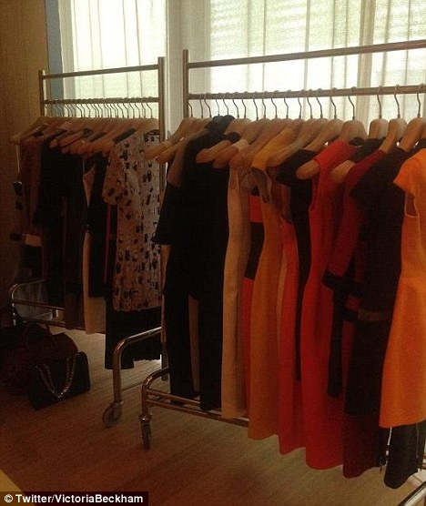 Showcase: Victoria tweeted a picture of her latest collection on show in Beijing