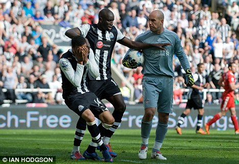 Seeing red: Pepe Reina (right) was sent off against Newcastle in his last Liverpool appearance on April Fool's Day