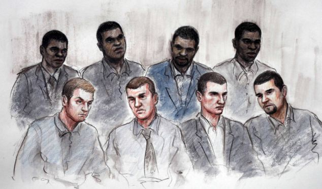 The trial of eight people accused of murdering three men who were struck by a car during Birmingham riots last summer