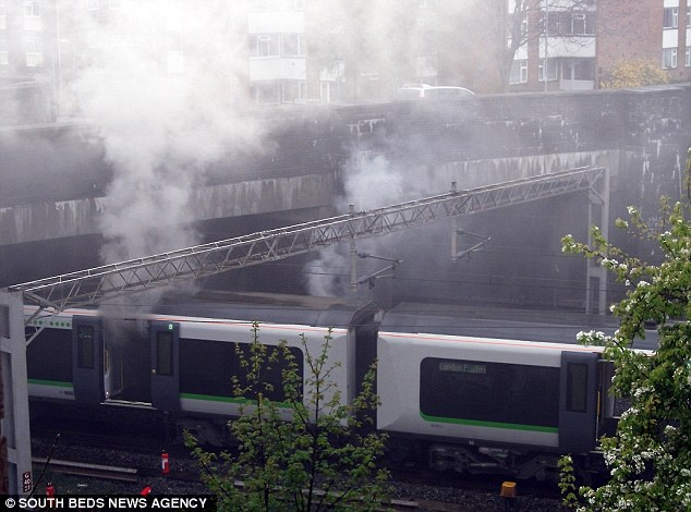 Horrific: The fire involving Rachel James brought this train to a halt just to the north of Leighton Buzzard station in Bedfordshire